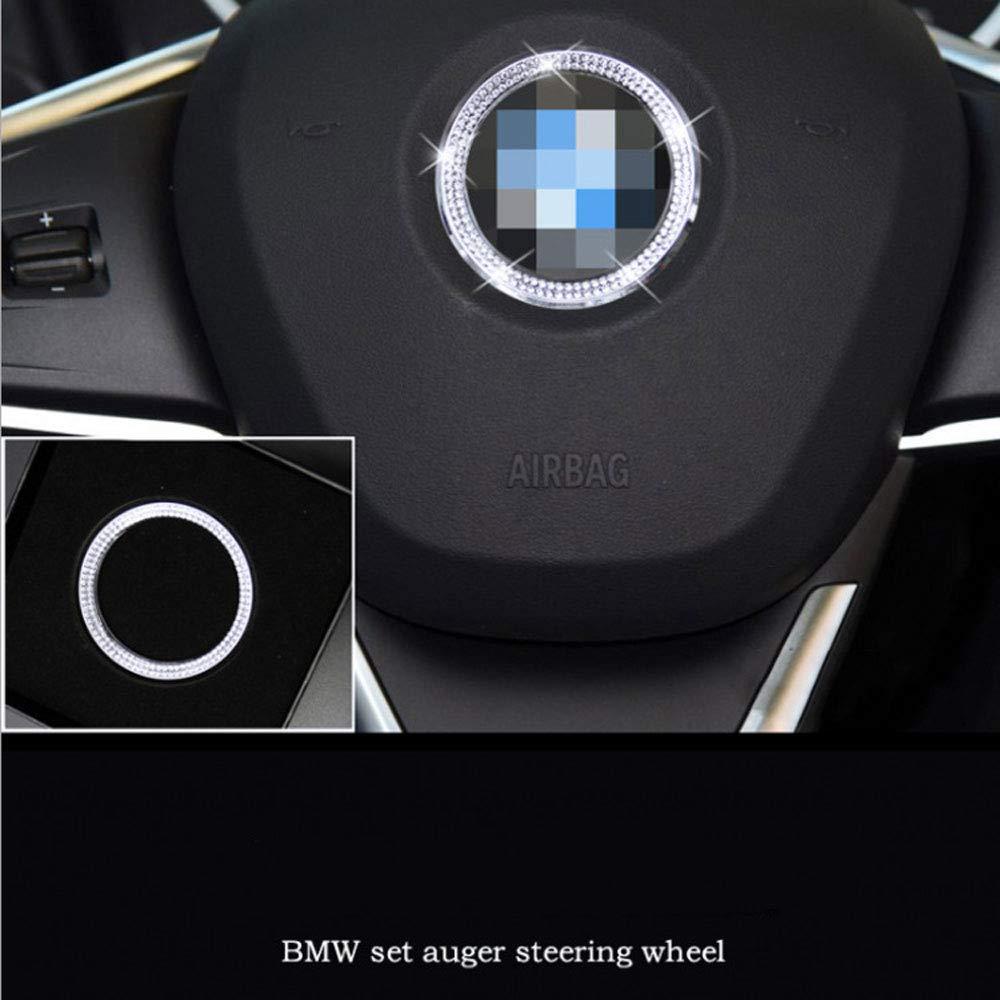 AUTO Pro for BMW 3 Series//5 Series GT x1 x3 x5 x6 car Logo Steering Wheel with Diamond Decorative Ring Interior Sticker car Interior Modification Accessories 1 Piece Set