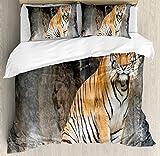 Zoo King Size Duvet Cover Set by Ambesonne, Bengal Tiger Feline Predator Aggressive Hunter Carnivore Africa Safari, Decorative 3 Piece Bedding Set with 2 Pillow Shams, Light Brown Black White