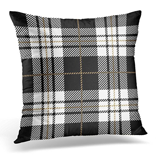 Sdamase Throw Pillow Cover Abstract Black and White Tartan Plaid Scottish Pattern Checkered Decorative Pillow Case Home Decor Square 18