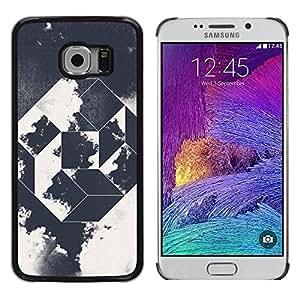 Paccase / SLIM PC / Aliminium Casa Carcasa Funda Case Cover - Prism Black White Art Clouds - Samsung Galaxy S6 EDGE SM-G925