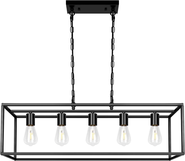 Black Farmhouse Kitchen Island Dining Room Pendant Light Modern 5 Light Chandelier Rectangle Metal Industrial Ceiling Light Fixtures For Living Room Foyer Bar Black Chandeliers Ceiling Lights