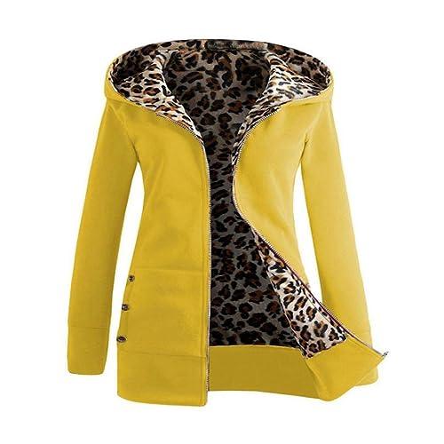 FAMILIZO Mujeres Invierno Calentar Sudadera Con Capucha Abrigo más gruesa Abrigo Leopard Outwear