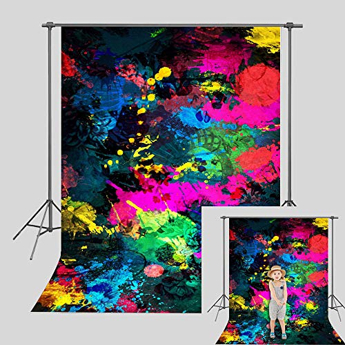 Art Studio 80's 90's Theme Abstract Graffiti Painting Art Photography Backdrops Colorful Neon Glowing Photo Background Party Decor Supplies Studio Props Vinyl 5x7ft]()