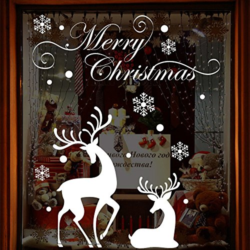 (Koolee Merry Christmas Window Clings Decal, Reindeer Wall Stickers Christmas Decorations Removable Art Decor DIY Wall Decal (White) )