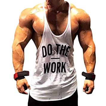 0dccb281353cc Luix Heyu Men s Gym Bodybuilding Tank Top Do The Work Printed Fitness Y  Back Muscle Stringer Vest  Amazon.co.uk  Sports   Outdoors
