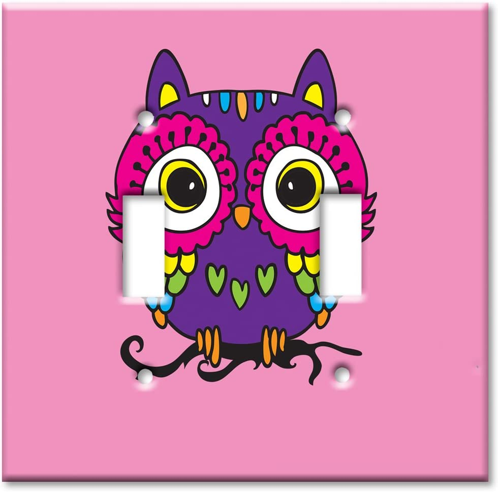Art Plates - Double Gang Toggle Oversize Switch/Over Size Wall Plate - Pink Owl