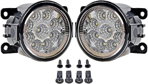 Pair White 9 LED Fog Driving Light Lamps H8 Bulbs Driver Passenger Sides