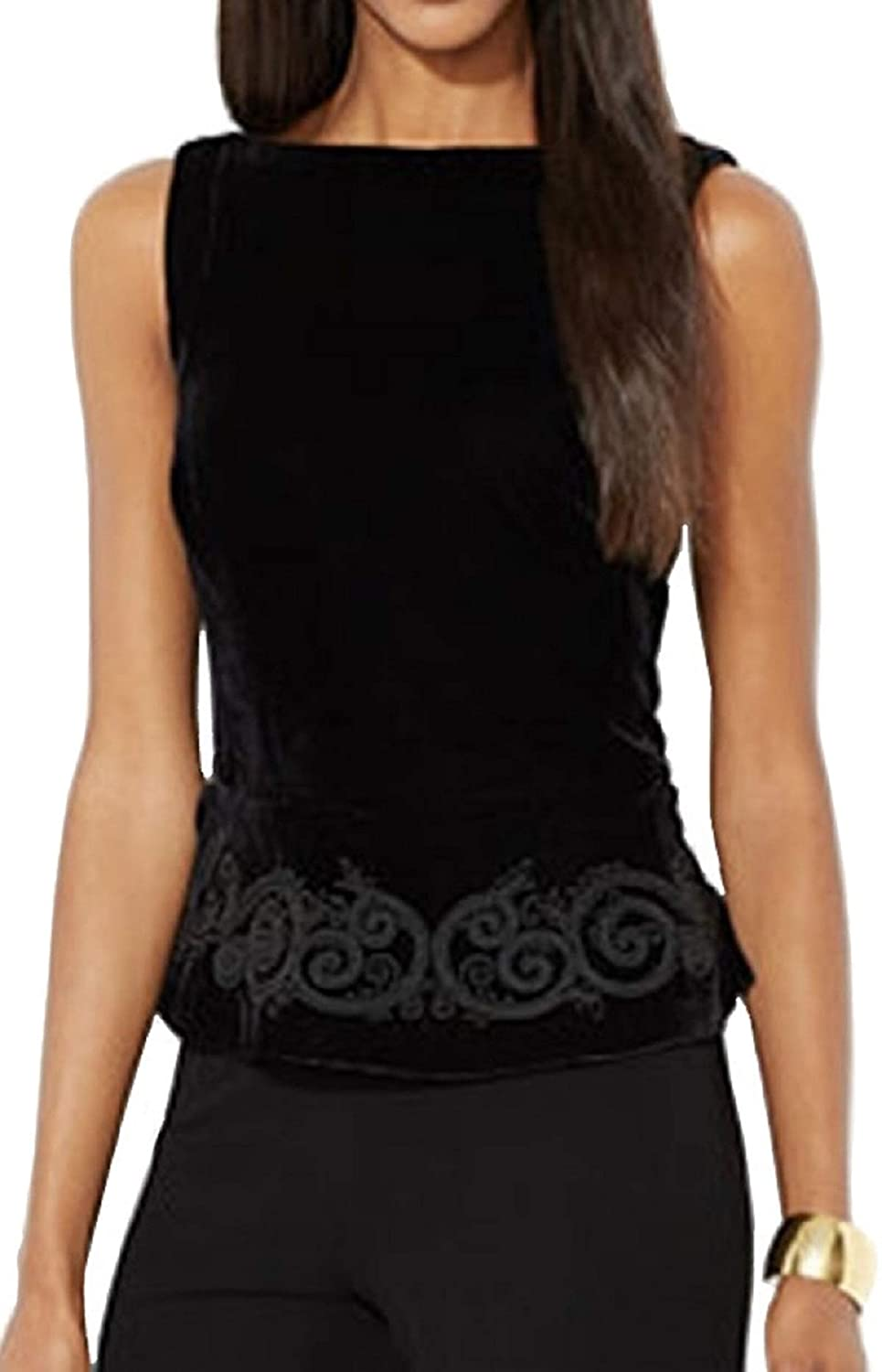 Ralph Lauren Lauren Womens Sleeveless Velvet Peplum Top Black Size 8