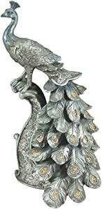 """Comfy Hour 13"""" Decorative Peacock Standing On Pillar Figurine, Blue Silvery, Collectable, Sequined Twinkling On Feather"""