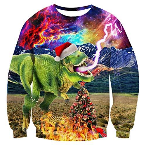 AIDEAONE Adult Christmas Dinosaur Sweatshirt 3D Printing Funny Creative Hoodies Sweater