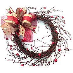 Valentine's Day Heart berry wreath with burlap bow