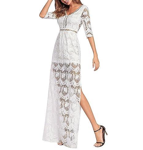 c9bacc454a2 Women Beach Dresses lace Crochet Maxi Dresses V-Neckline Sheer mesh Torso