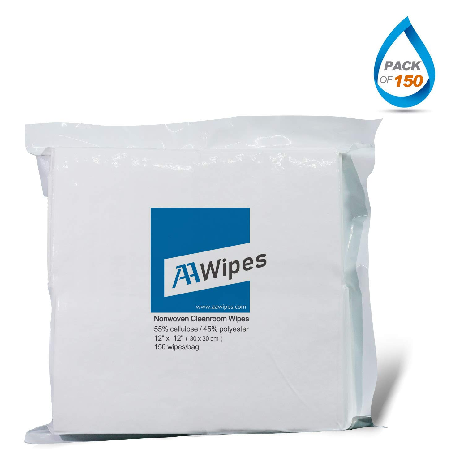 Cleanroom Wipes Nonwoven Wipers Cellulose/Polyester Blend 12'' x 12'' (Bag of 150 Pcs) for Lab, Electronics, Pharmaceutical, Printing and Semiconductor Industries by AAWipes