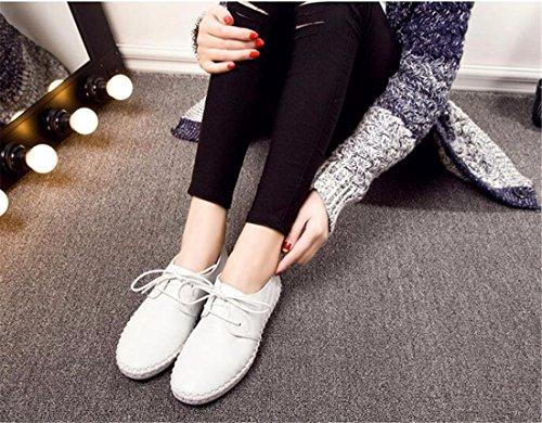 neue beilaeufige runde Zehe flache Schuhfrauen schnueren einzelne Schuhe Loafers Sneaker up White