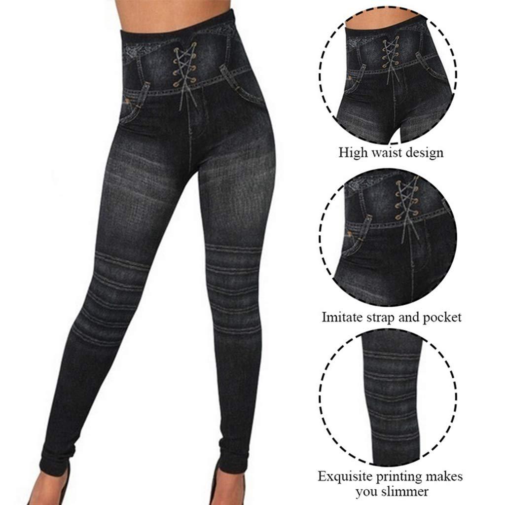 Zcxaa Soft Spring Autumn Women Slim Thin High Elastic Waist Washed Jeans Leggings Print Yoga Pants Striped Leggins New Blue,S