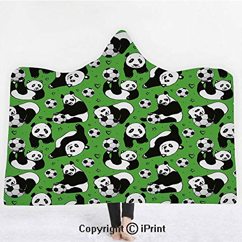 """Soccer 3D Print Soft Hooded Blanket Boys Girls Premium Throw Blanket,Funny Panda Animals Playing with Balls Hand Drawn Style Hearts and Stars Decorative,Lightweight Microfiber(Kids 50""""x60"""")Lime Green"""