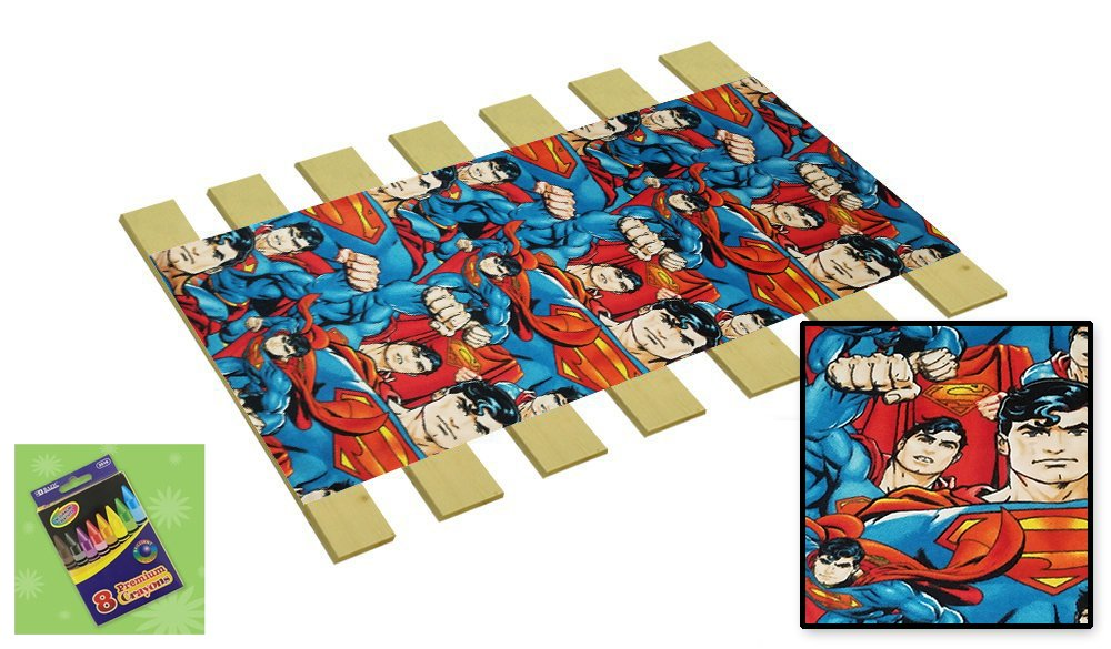 Custom Made in The U.S.A.! Youth/Toddler Size Superman Fleece Comic Book Hero Themed Bed Slats Bunky Boards - Cut to The Width of Your Choice (28.75'' Wide) - Free Box of Crayons with Purchase