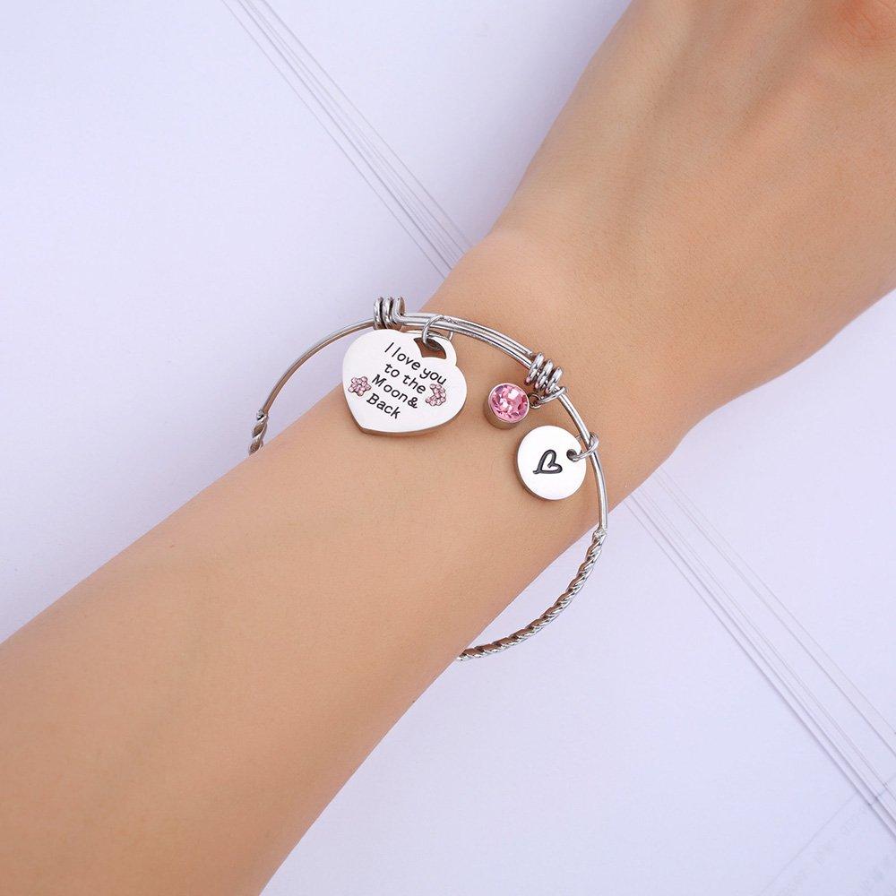 c263b2aad Dec.bells Stainless Steel Charm Bracelet Love Heart Bangle Bracelets  Expandable Jewelry Gift for Women Sister Mom Wife Daughter Friends Teen  Girls ...