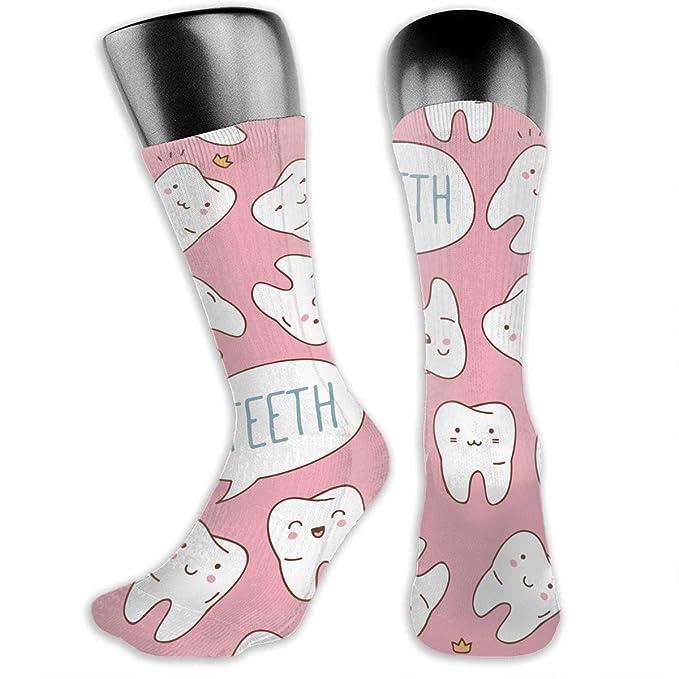 9d7dc6449d788 Amazon.com: MFMAKER Kawaii Dentist Teeth Pink Athletic Socks High ...