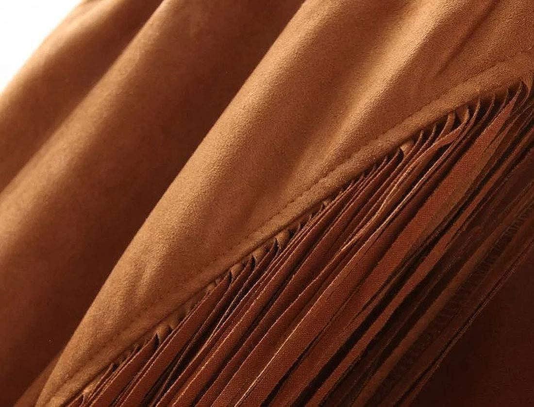 D.B.M Ladies Lightweight Casual Solid Color Fringe Hem Long Sleeve Cardigan