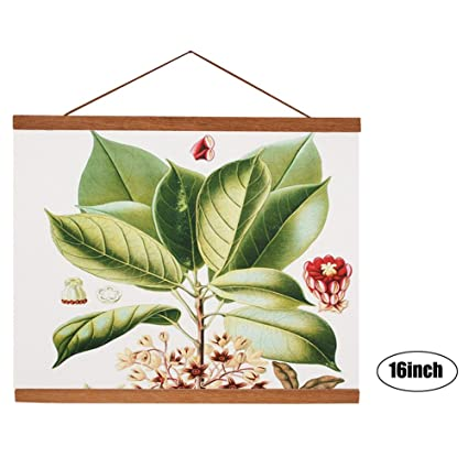 Magnetic Wood Frame DIY Poster Scroll Artwork Print Holder Canvas Quilt  Wooden Hanging For Home Decor