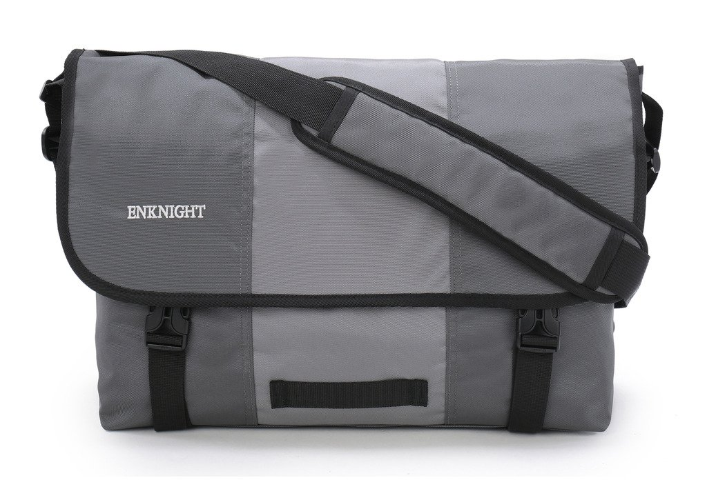 ENKNIGHT Classic Messenger Bag Big Briefcase Shoulder Laptop Bag Cross body Bags Gray