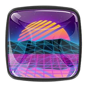 Dresser Drawers knob Vaporwave Purple Furniture Knobs Funky Kids Furniture Knobs for Nursery Set of 4 1.18x0.82x0.78 in