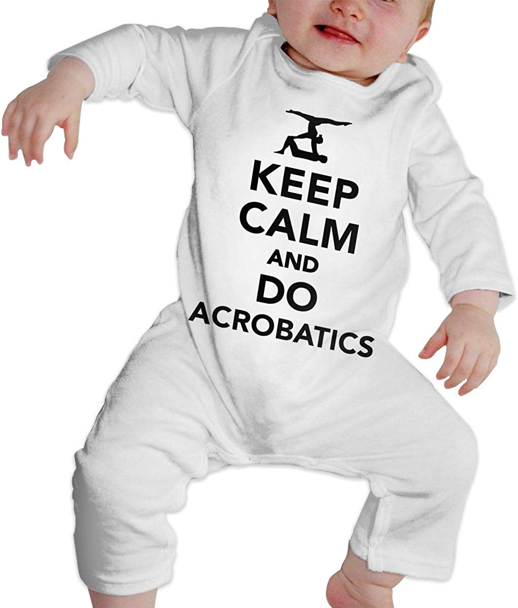 YELTY6F Keep Calm and Do Acrobatics Printed Baby Jumpsuit Long Sleeve Outfits White