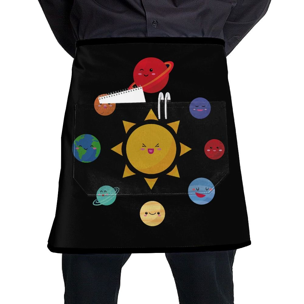 Cute Solar System Home Cooking Kitchen Half Body Waist Aprons Sewing Pocket Apron