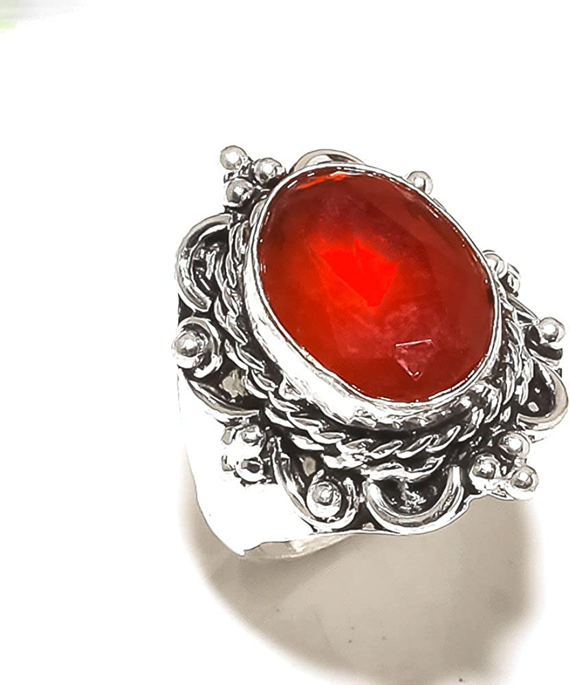Red Dyed Ruby Handmade Jewellry 925 Sterling Silver Plated 8 Grams Ring Size 8 US Designer Jewelry for Girls