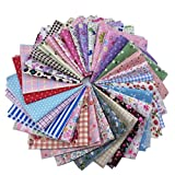 levylisa 50 Pieces Pre Cut Assorted Colours Cotton Printed Fabric Patchwork Fabric Fat Quarter Bundle patchwork Quilting Sewing Fabric Patchwork Flower Dots DIY quilting Handmade Craft 8 x 8 Inches