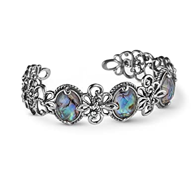 5b8062babf5 Carolyn Pollack Sterling Silver Abalone Doublet Cuff Bracelet, Large  (Circumference of the item is