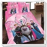 Princess Elsa Anna Frozen Cartoon Bedding Set Flat Sheet Queen/twin Size Duvet Cover Bed Sheet Pillow Case (queen, 1)