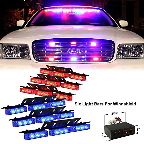 Outline Blue Panel (DIYAH 54 LED High Intensity LED Light Bar Law Enforcement Emergency Hazard Warning Strobe Lights For Interior Dash Windshield (Red and BLue))