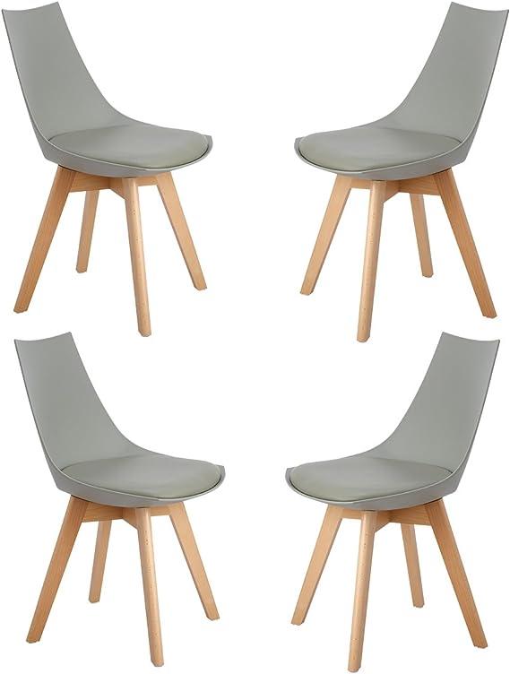 HJ WeDoo 4er Set Retro Designer Stuhl Esszimmerstühle Wohnzimmerstühl mit bequem Gepolstertem Sitz,Grau
