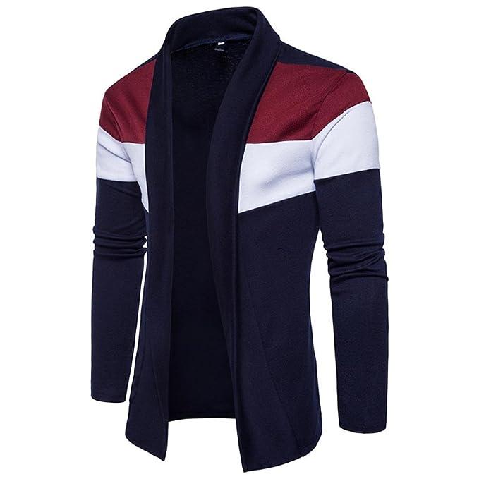 OverDose chaquetas hombre invierno chaqueta de punto de moda de patchwork: Amazon.es: Ropa y accesorios