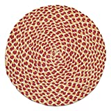 """Unique & Custom {15'' Inch} Single Pack of Round Circle """"Non-Slip Grip Texture"""" Large Table Placemat Made of Flexible 100% Cotton w/ Rustic Country Braided Folk Boho Design [Colorful Red & Tan]"""