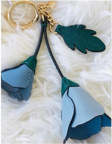 Michael Kors Blue Key Fob Bag Charm Leather Flower KeyFob