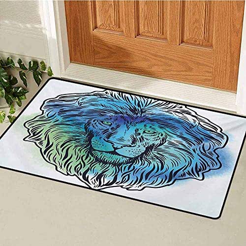 GUUVOR Lion Inlet Outdoor Door mat Artistic Lion Portrait with Digital Hazy Effect King of Forest Illustration Catch dust Snow and mud W35.4 x L47.2 Inch Pale Blue Turquoise