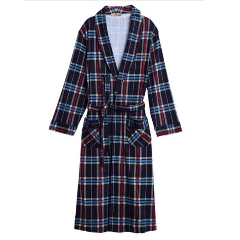 NAN Liang Mens Check 100% Cotton Bathrobe Dressing Gown Women's One Piece Bathrobe Thicken Tracksuit (color   B, Size   XXXL)