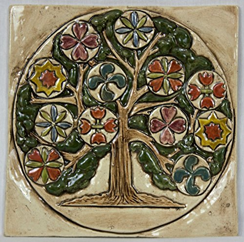 Handmade Pennsylvania Dutch Tree of Life Hex Tile