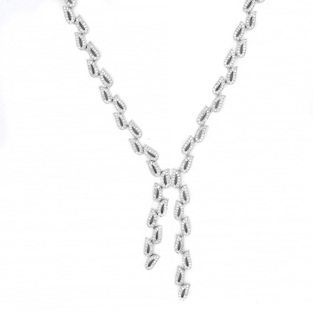 Evan Jewels, EV9-9033 Handcrafted Leaf Lariat Necklace in Sterling Silver 17'' (Silver) by Evan Jewels