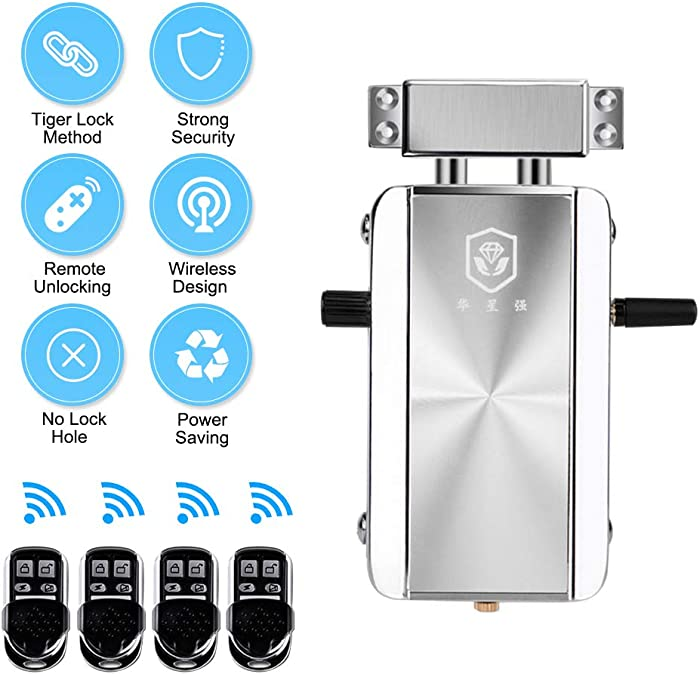 OWSOO Home Door Lock Kit Electronic Lock Keyless Entry Door Lock Smart Wireless Anti-Theft Lock Deadbolt Lock Access Control System for Home Hotel Apartment with 4 Remote Control