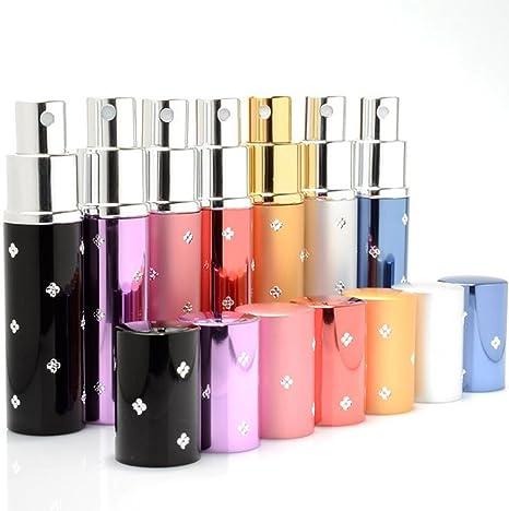 MINGZE 7 piezas 10ML Atomizador del perfume, rociador botellas de perfume, carcasa de aluminio