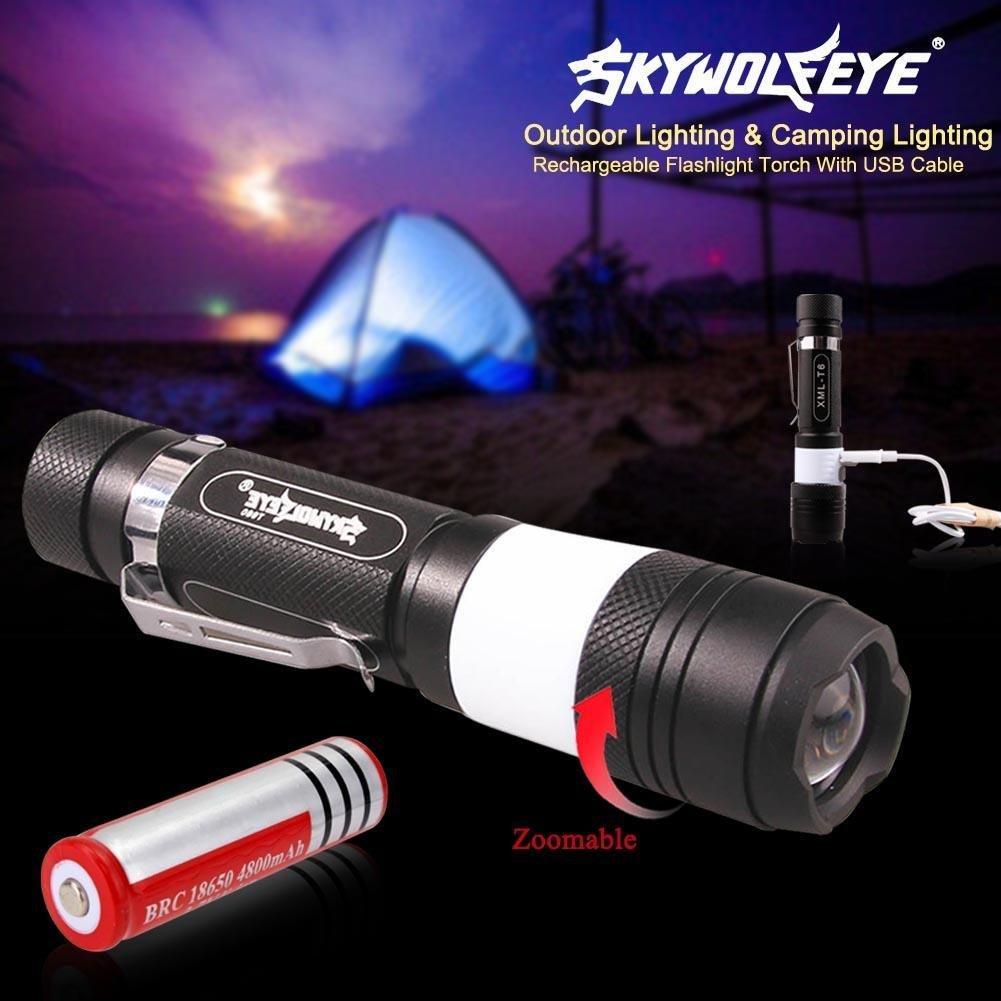 Skywolfeye LED-Taschenlampe, 6 Modi, XM-L T6, 500 lm, 2 LEDs, zoombare Taschenlampe, Campinglicht + 4800 mAh 18650 Akku