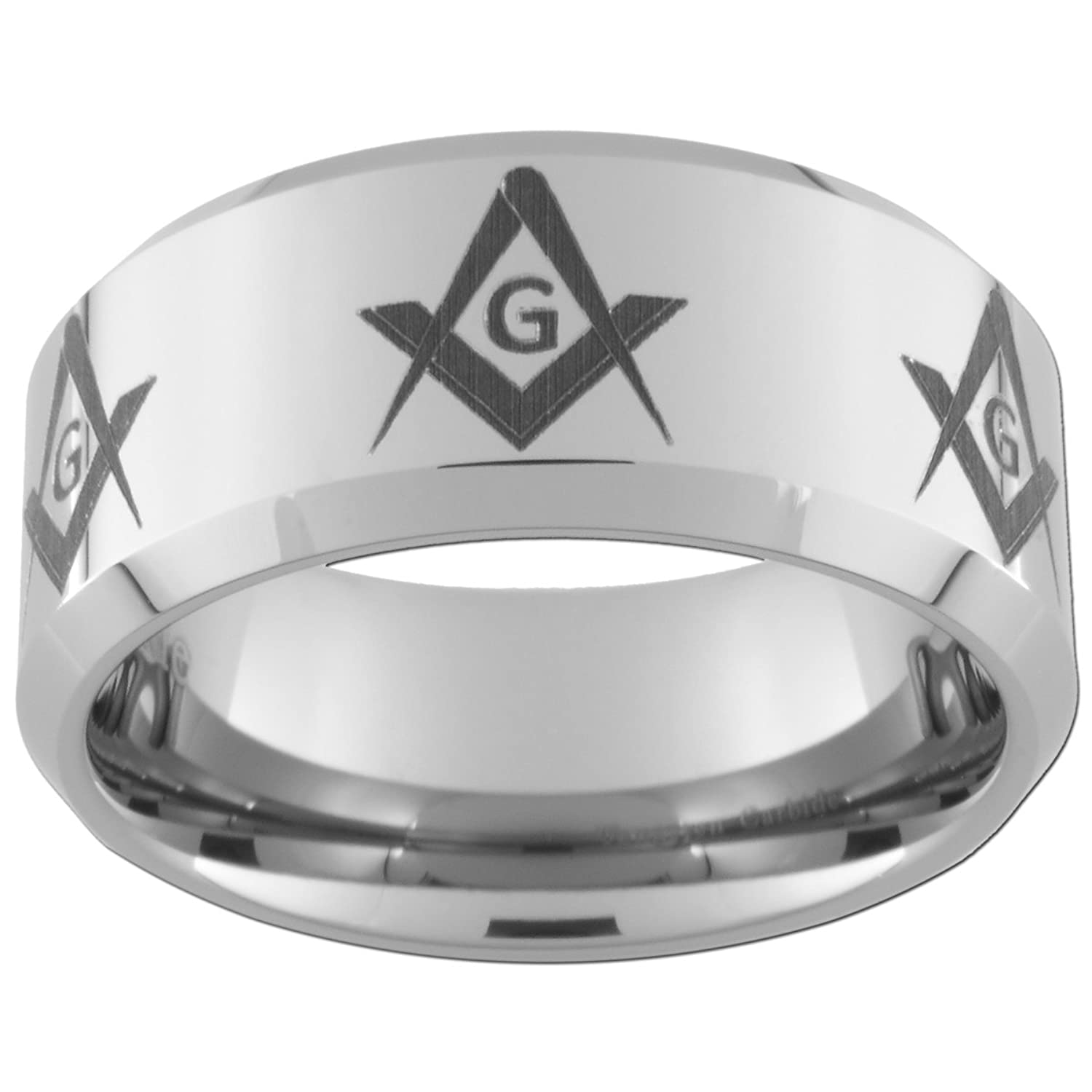 10mm Tungsten Carbide Freemason Masonic Square and Compass Rings (full and half sizes 5-15)