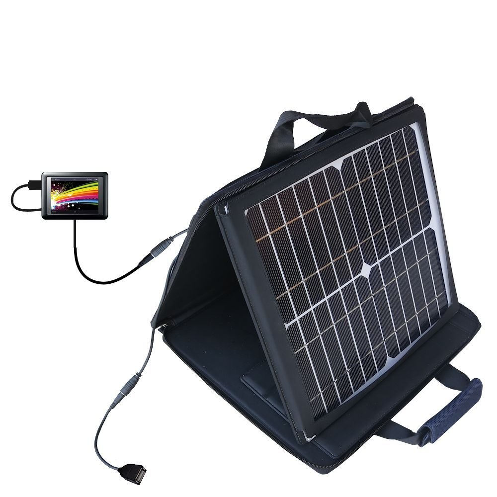 Gomadic SunVolt High Output Portable Solar Power Station designed for the iRiver LPlayer 4GB 8GB - Can charge multiple devices with outlet speeds by Gomadic