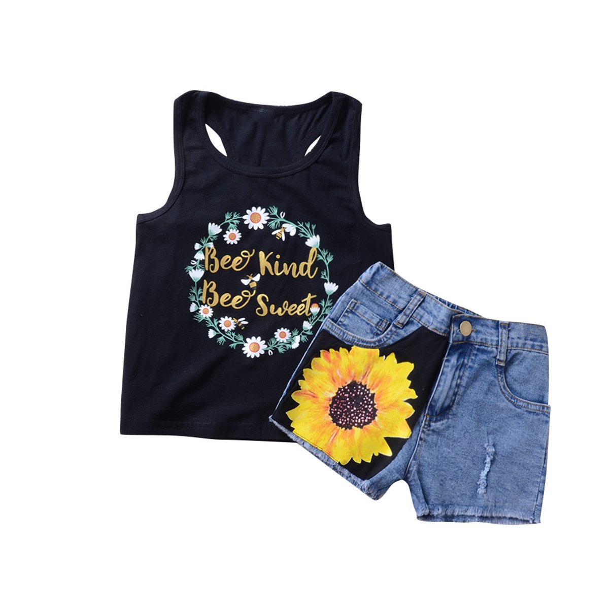 Camidy 2 Style Toddler Girl Sleeveless Vest Tops +Floral Denim Shorts Outfits Set