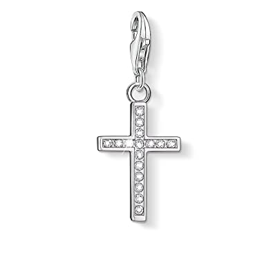 Thomas Sabo Women-Charm Pendant Cross Charm Club 925 Sterling Silver Zirconia white 0054-051-14 2ZBBDDhrp