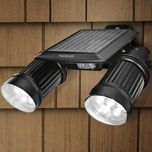 Touch Of ECO TOE043 Twinspot Pro Dual Solar Motion Spotlight, (White Led Eco Led)